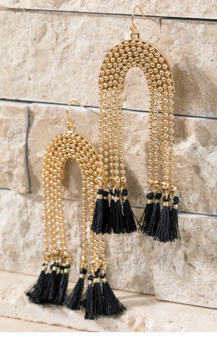 Black U-Shaped Tassel Earrings