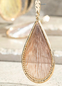 Rose Gold Tear Drop Threaded Earrings