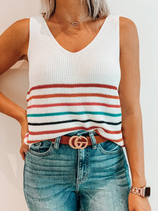 White Stripe Sweater Tank