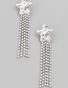 Silver Star Tassel Earrings
