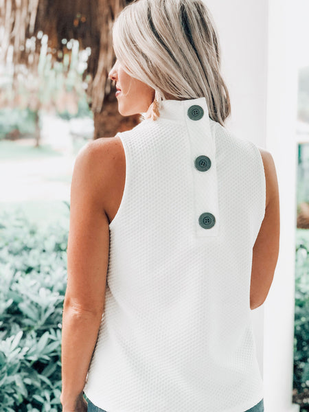 Ivory Texture Button Back Top