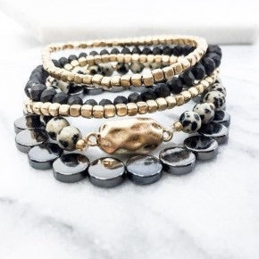 Deep Grey and Gold 5 Strand Bracelet Set