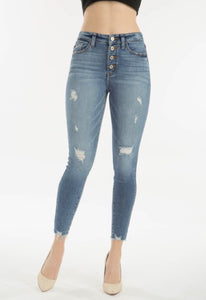 Light Denim Button Fly Semi Distressed Jeans