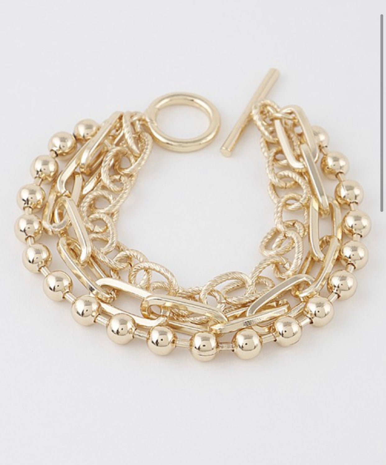 Gold Multi Chain Toggle Bracelet