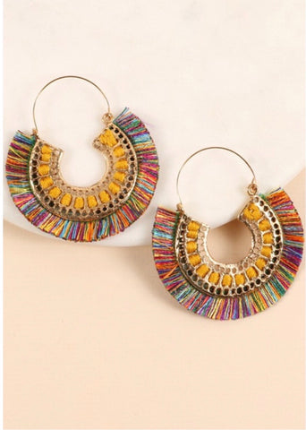 Multicolor Cutout Fringe Earrings