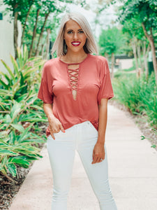 Marsala Jersey Knit Criss Cross Neck Top