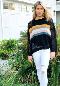 Black Colorblock Fishnet Sweater