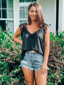 Black Sleeveless Lace Cami