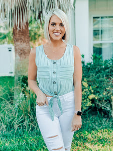 Sage Striped Button Down Front Tie Detail