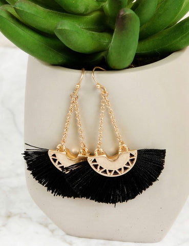 Black Chained Drop Tassel Earrings