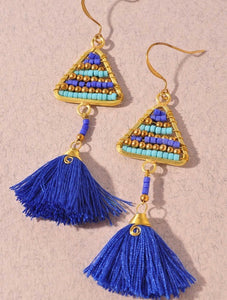 Blue Tribal Earrings