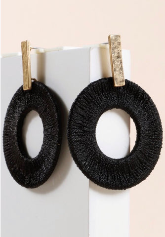 Black Metallic Thread Wrapped Earrings