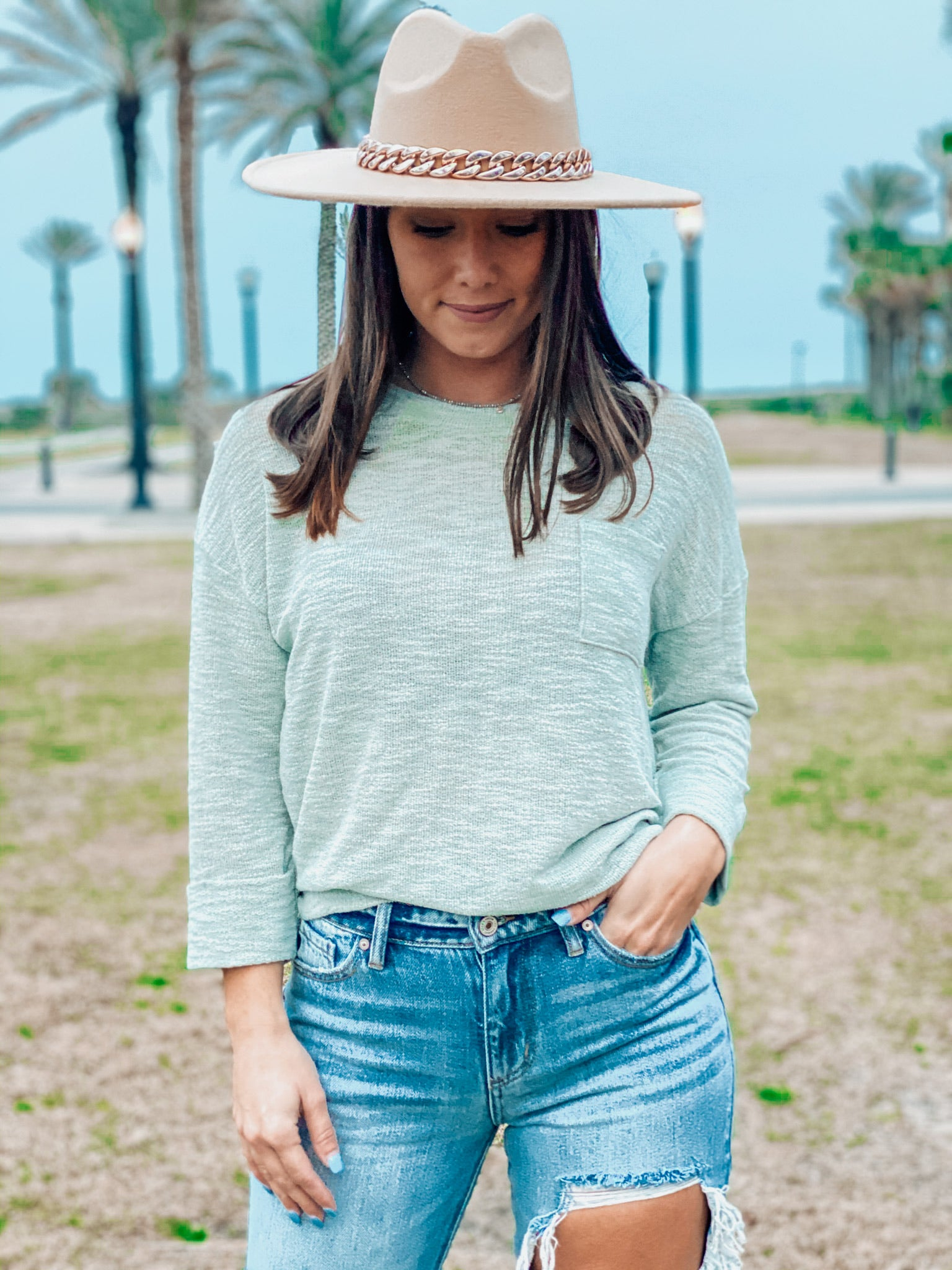 Sage Front Pocket Knit Top