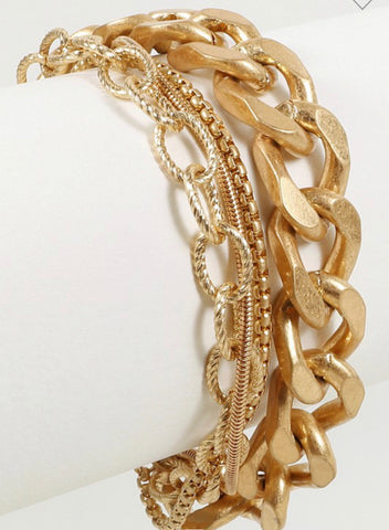 Chain and Snake Linked Layered Bracelet