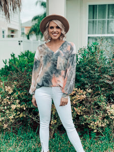 Neon Coral Tie Die Long Sleeve Knit Top