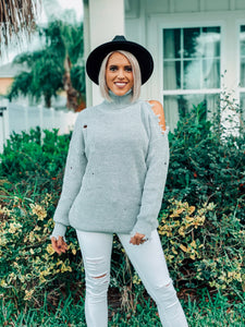 Gray Turtleneck Sweater Open Shoulder