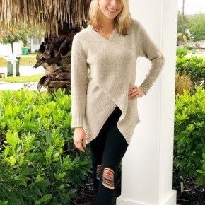 Ivory Sweater with Front Cross Over