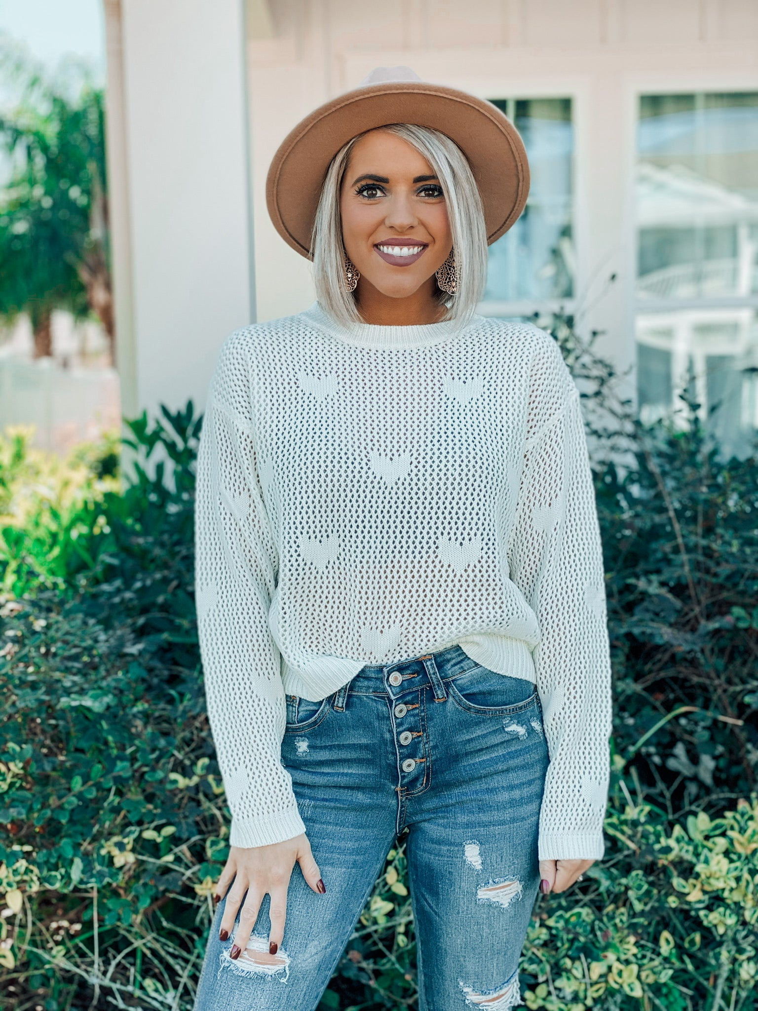Cream Heart Knit Top