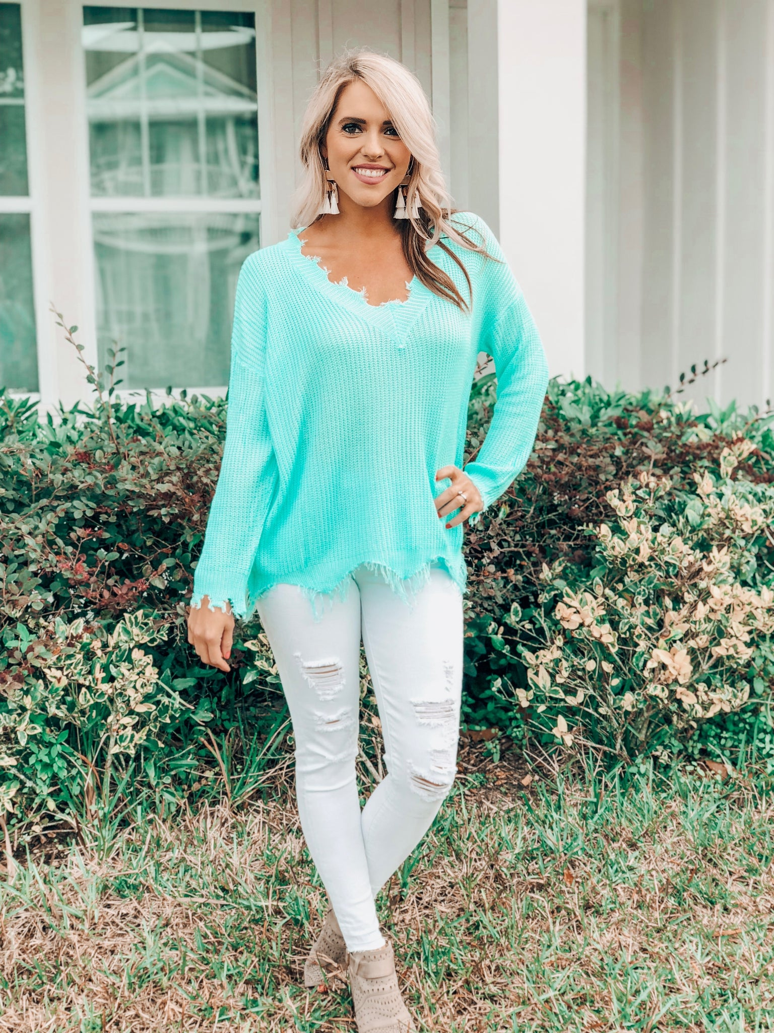 Aqua V Neck Frayed Sweater