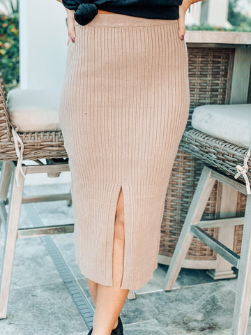 Taupe Midi Skirt With Slit
