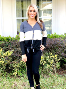 Color Block Charcoal Top with Tie Front