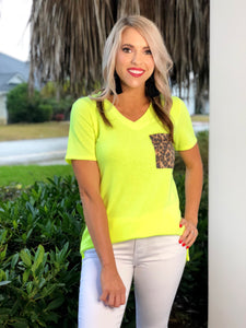 Neon Leopard Top With Leopard Patch