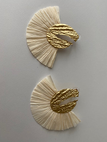 Beige Fringe Fan Earrings