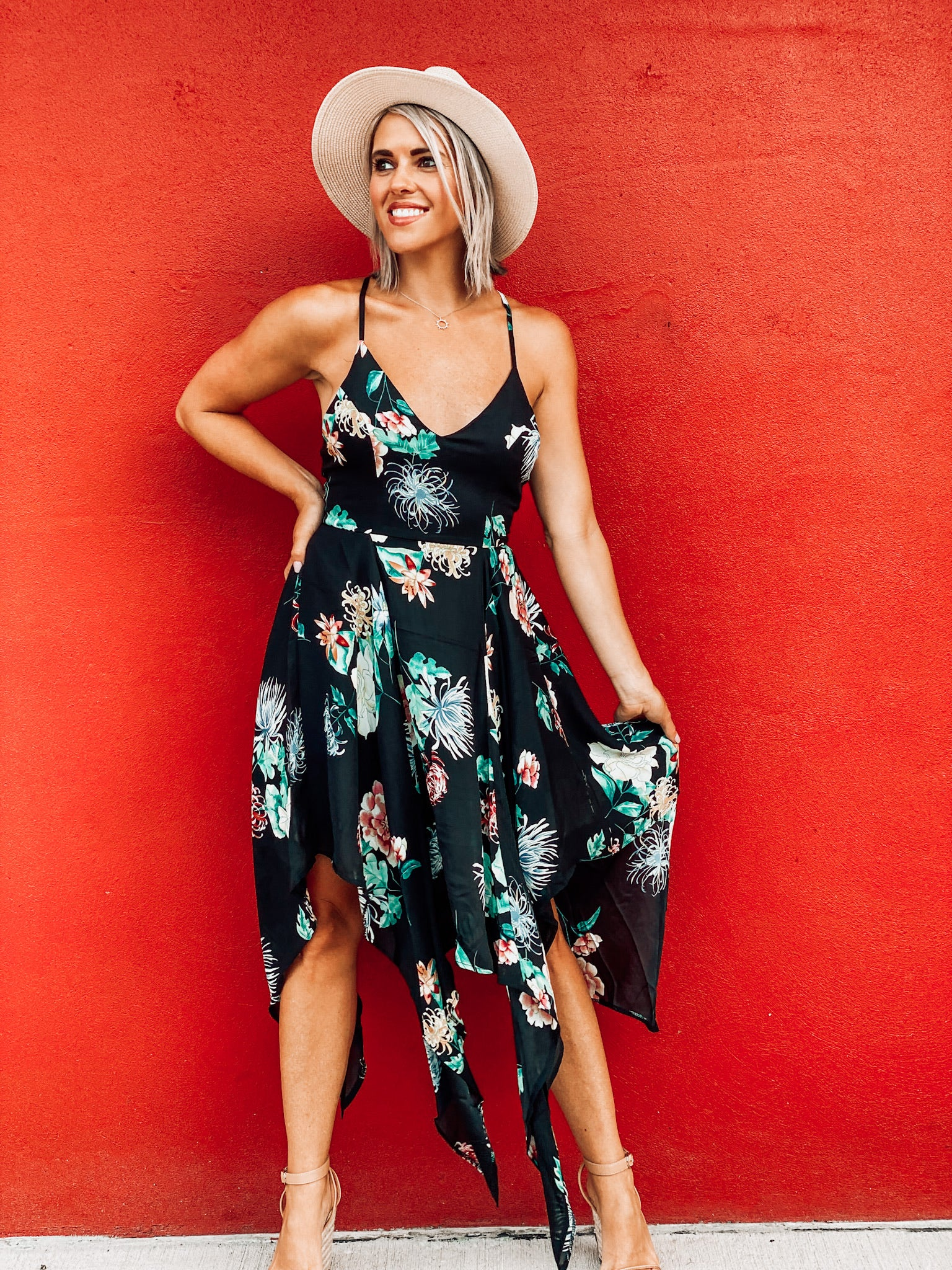 Black Floral Shark Bite Dress