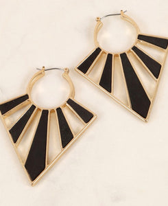 Jet Black Geometric Earrings