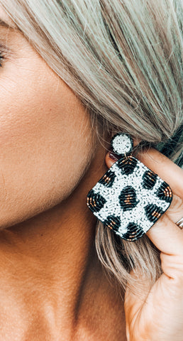 Diamond White Leopard Earrings