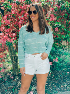 Lets Take a Stroll Sage Cropped Sweater