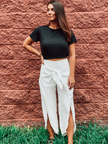White Tie Front Slit Pants