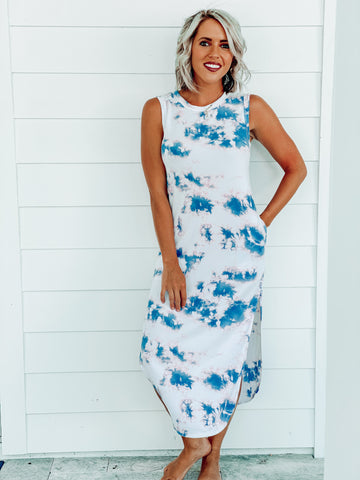 Pink/Blue Casual Tie Dye Maxi Dress