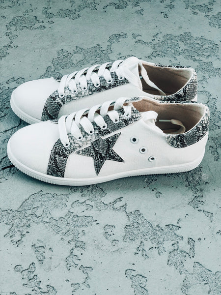 Snake and Star Print Sneaker