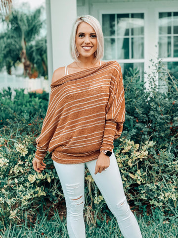 Mocha Off Shoulder Oversized Top