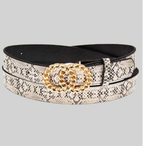 Gold Double Ring Cream Snake Belt