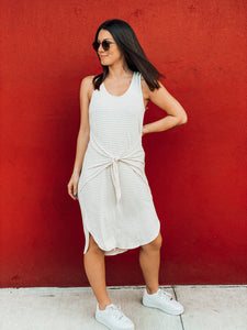 Taupe Striped Front Tie Dress