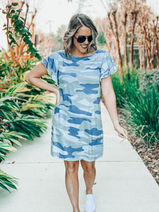 Ruffle Sleeve Camo Dress