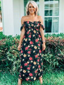 Floral Maxi Smocked Sweetheart Neckline Dress