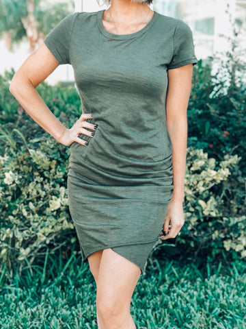 Olive Short Sleeve Mini Dress
