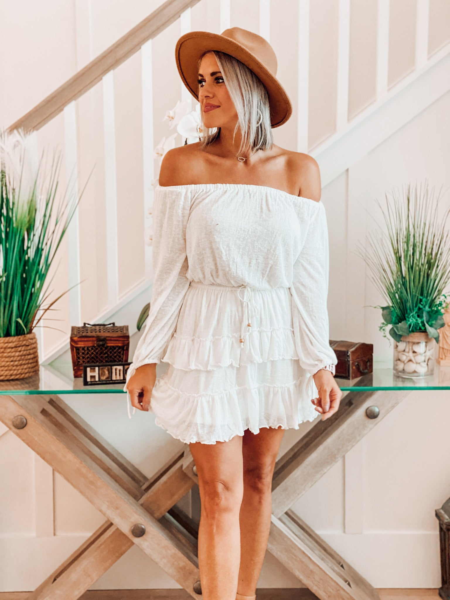 Leonora Ivory Off Shoulder Dress