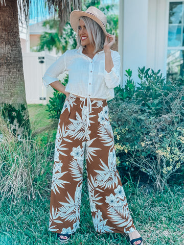 Brown Serena Tropical Wide Leg Pants