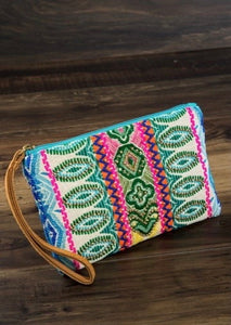 Blue and Black Multicolor Aztec Clutch