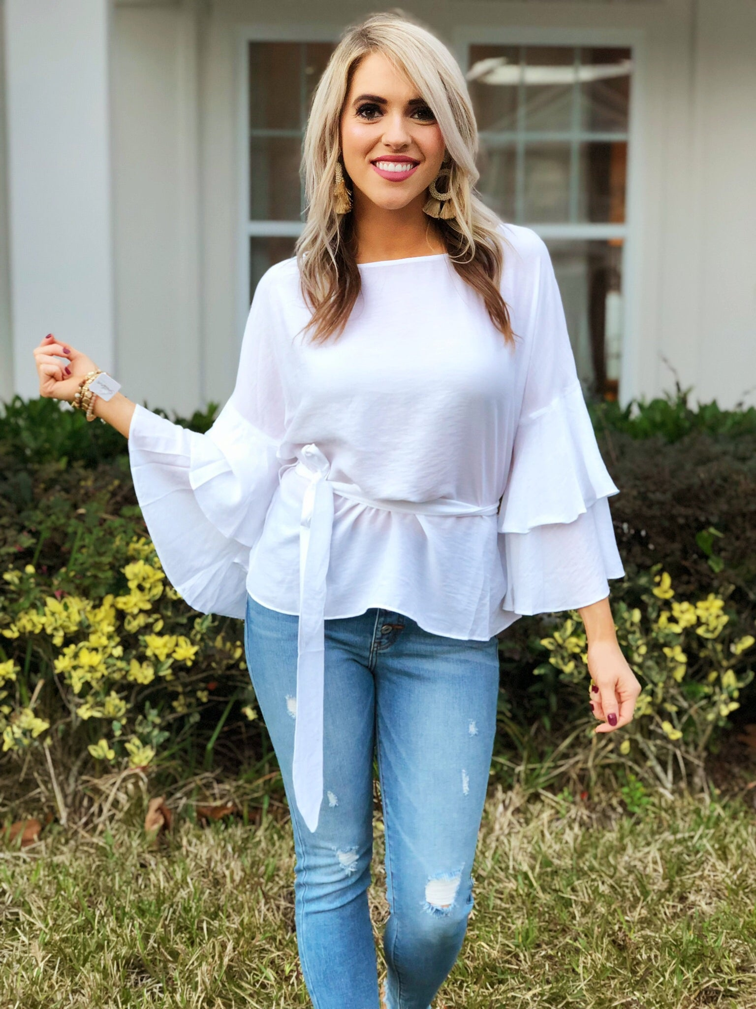 White Solid Tiered Ruffle Sleeve Waist Tie Top