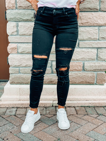 Madelyn Distressed Black Jeans
