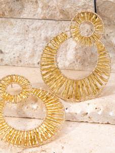 Gold Round Dangle Earrings
