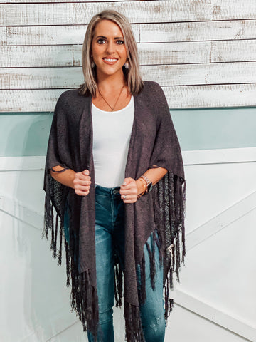 Charcoal Cocoon Cardigan