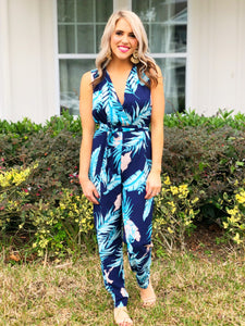 Navy Palm Jumpsuit