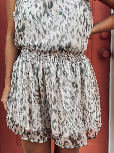 Cream Printed Tube Smocked Waist Midi Dress