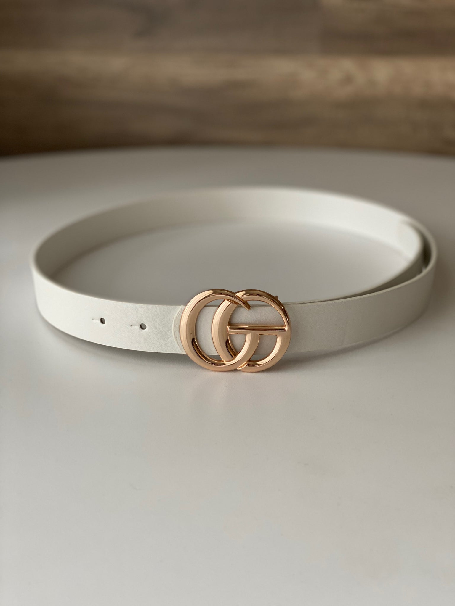 White Single Ring Belt